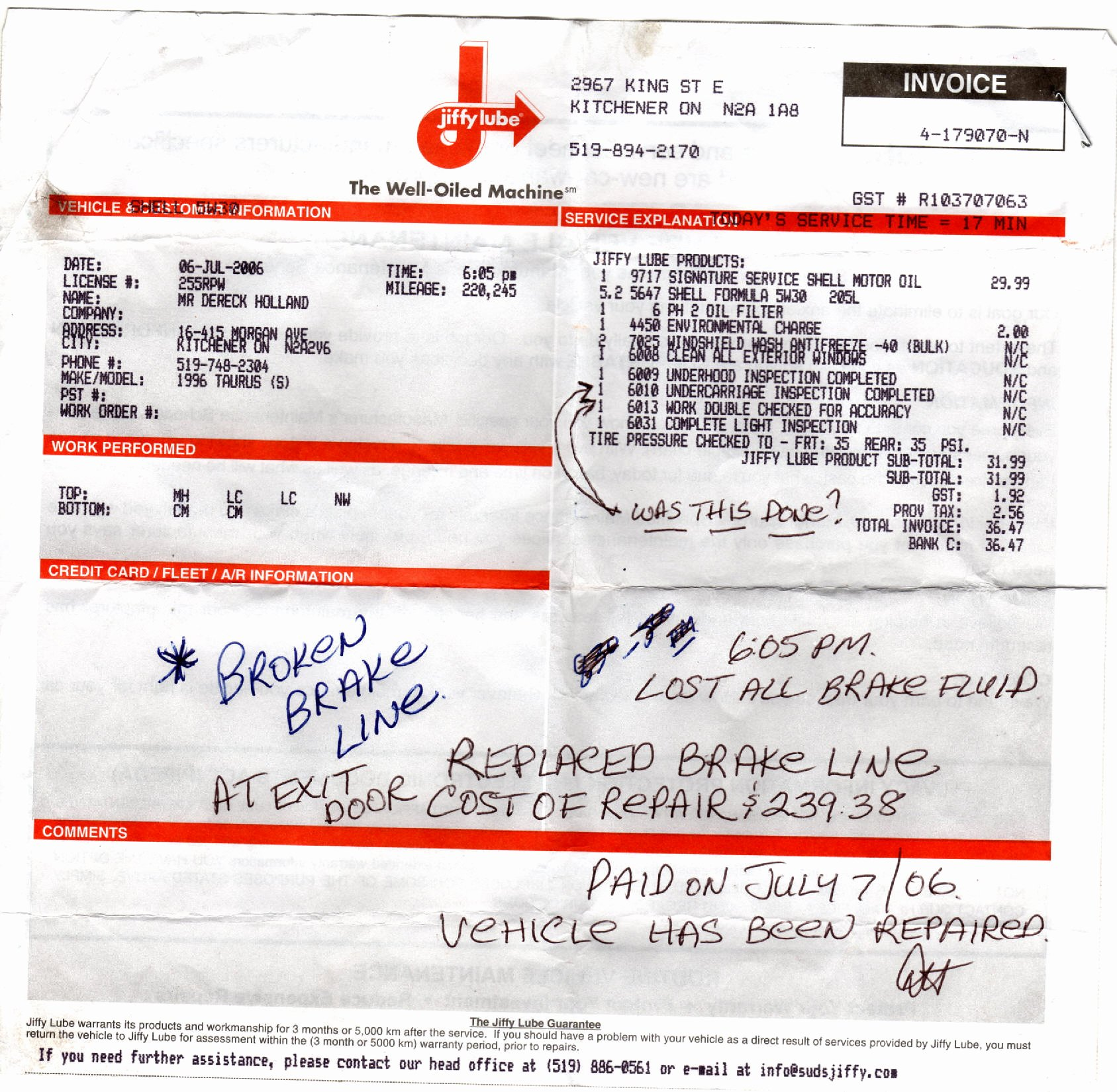 Oil Change Receipt Template Unique What S Wrong at Jiffy Lube Learn Reme S Add Your
