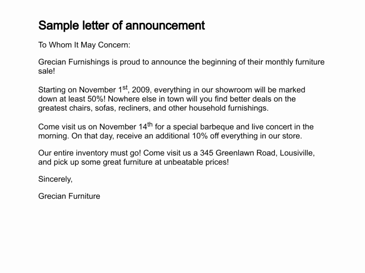 Open Enrollment Announcement Letter Beautiful 12 Sample Announcement Letters Sample Letters Word