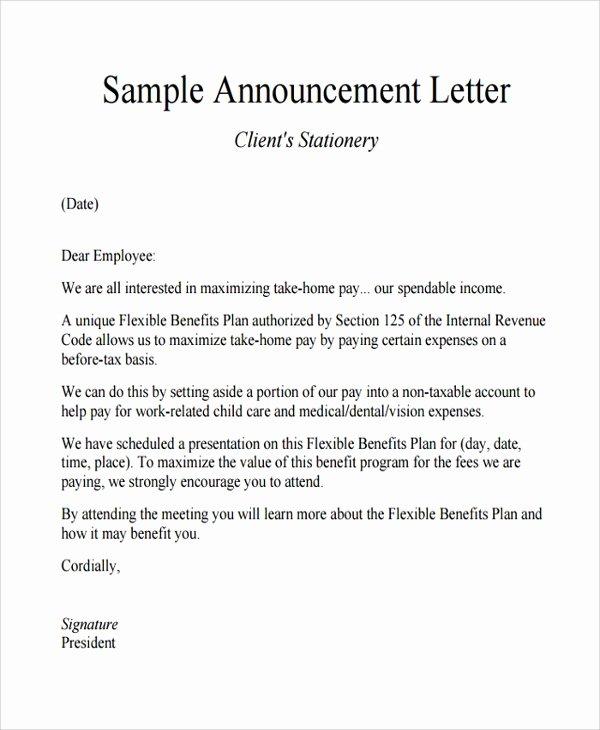 Open Enrollment Announcement Letter Beautiful Sample Announcement Letter Template 11 Free Documents