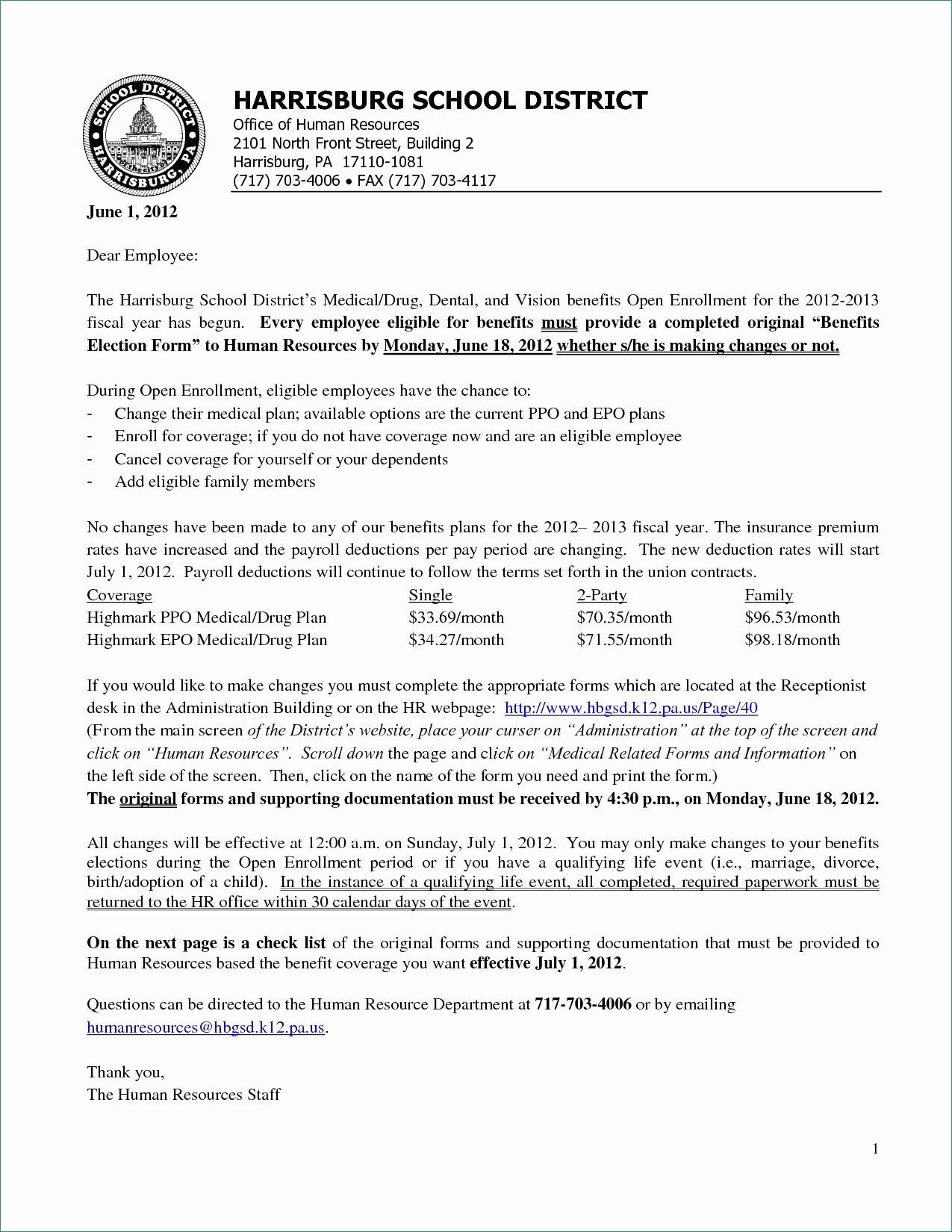 Open Enrollment Announcement Letter Beautiful Sample Letter to Employees Regarding Benefits Antique