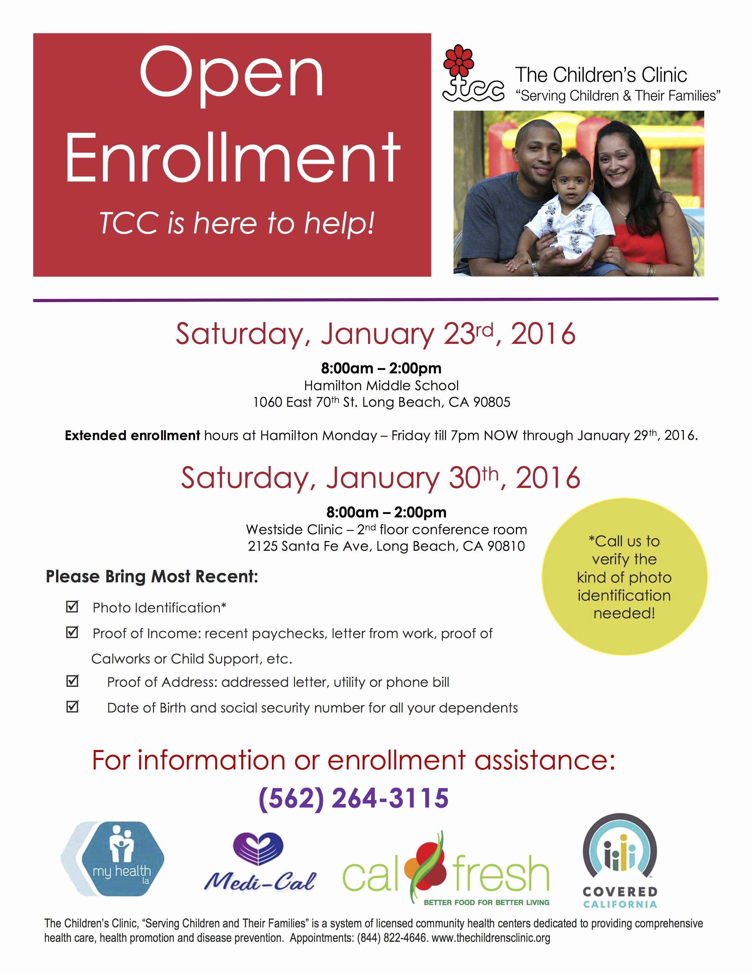 Open Enrollment Announcement Letter Unique the Childrens Clinic Open Enrollment 2016 Eng