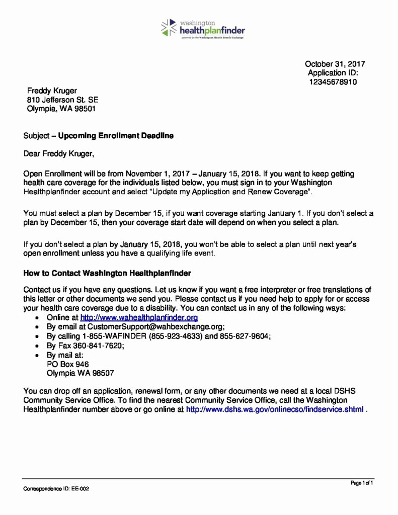 Open Enrollment Letter Template Beautiful Enrollment Deadline