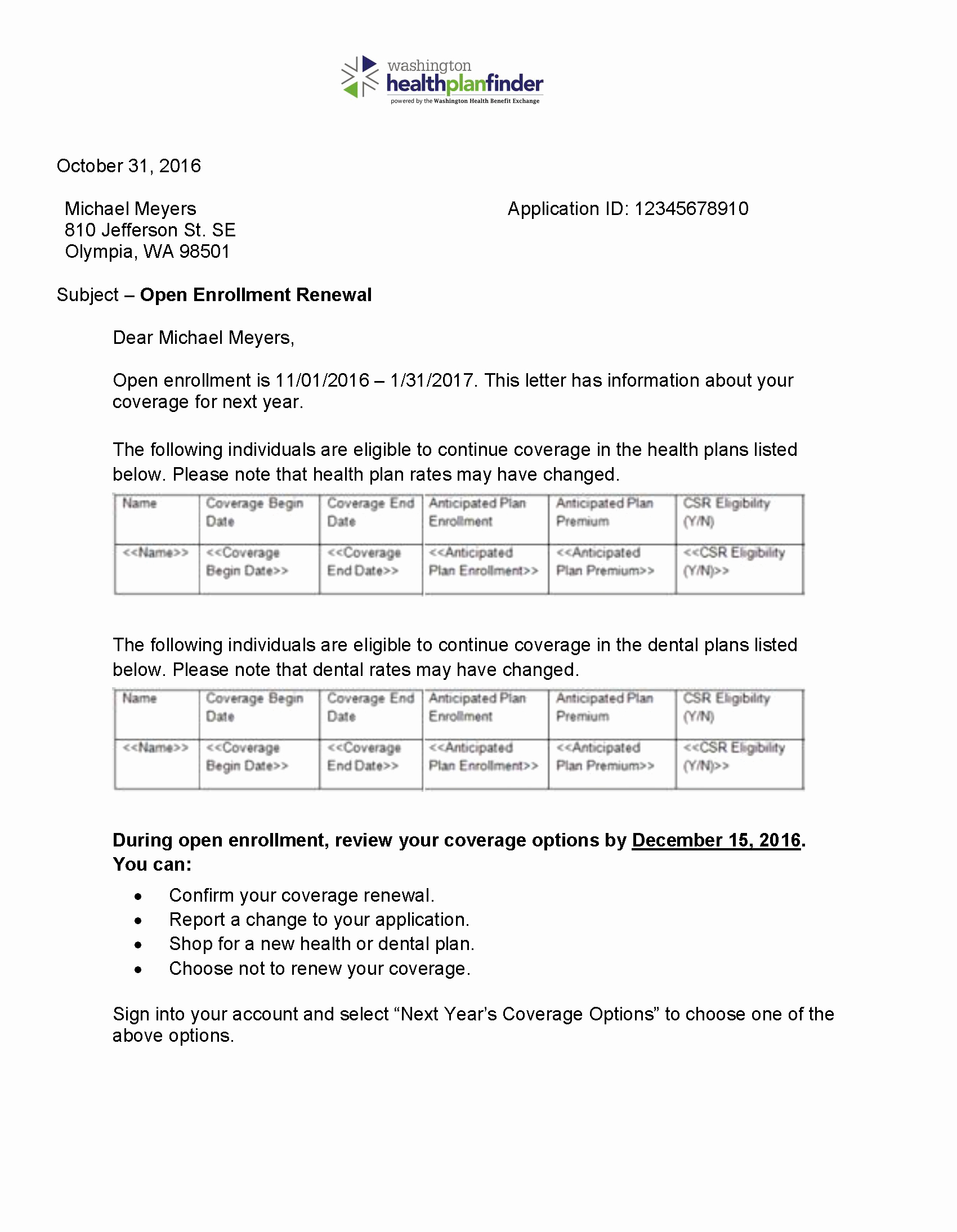 Open Enrollment Letter Template New Renewal Letter