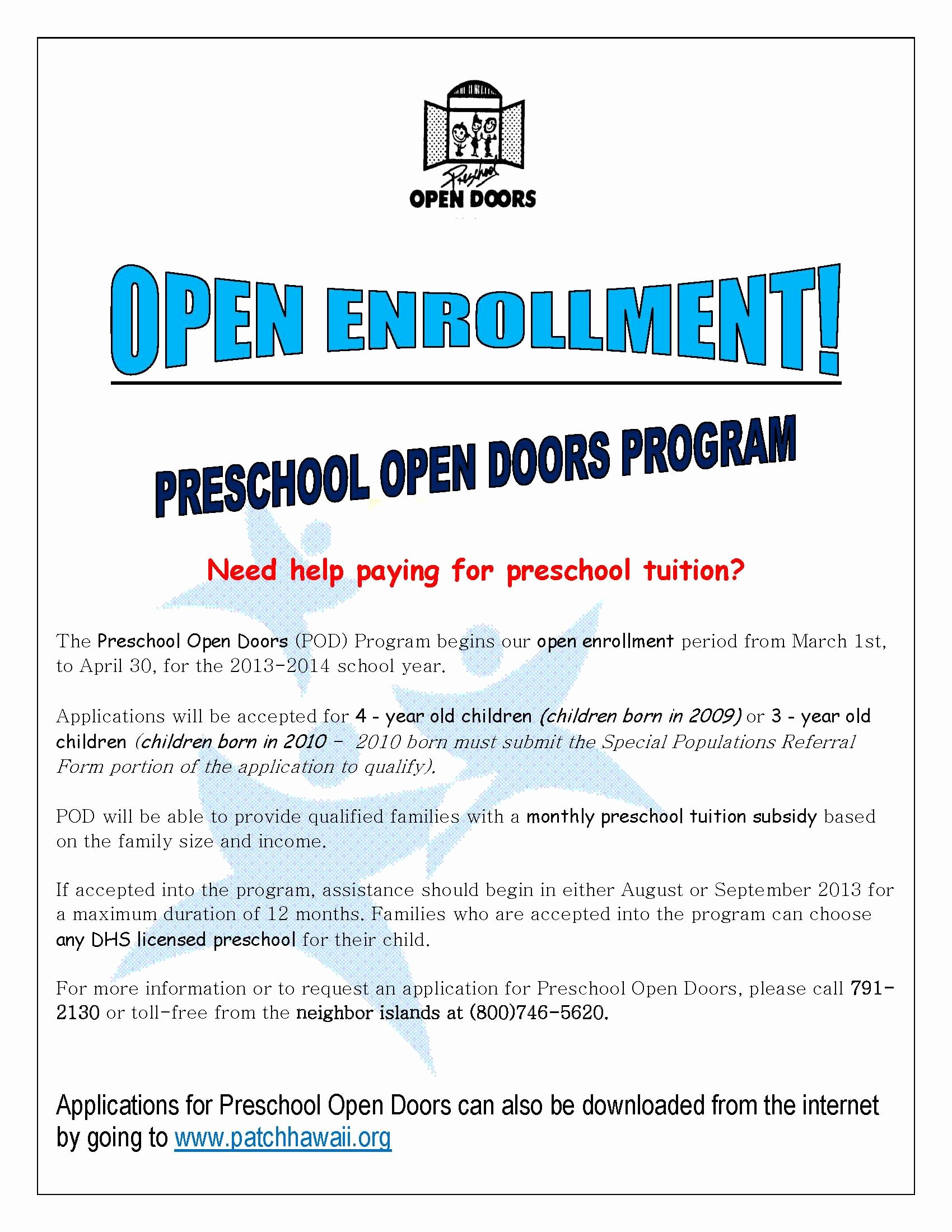 Open Enrollment Letter Template Unique Preschool Open Doors Open Enrollment Notice