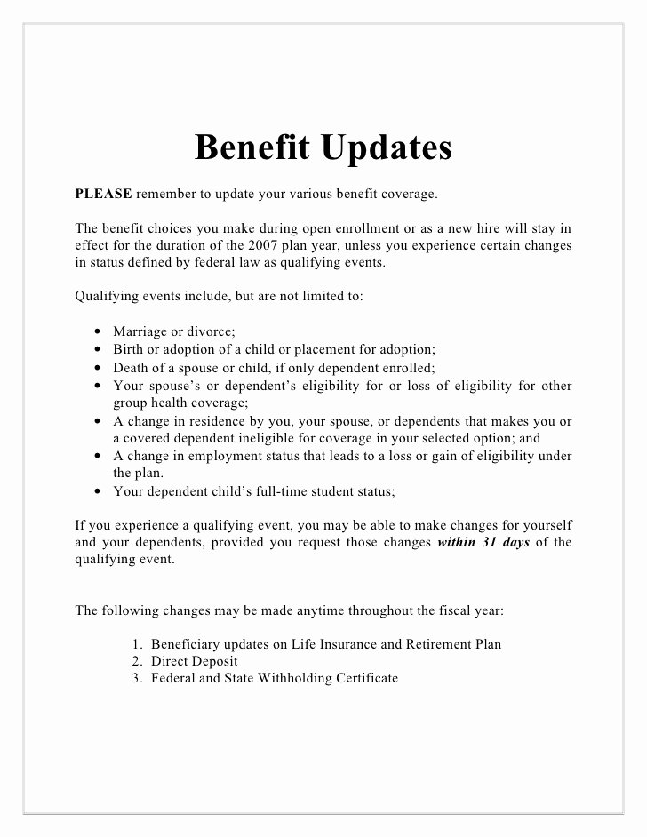 Open Enrollment Letter to Employees Awesome Collection Open Enrollment Memo to Employees S