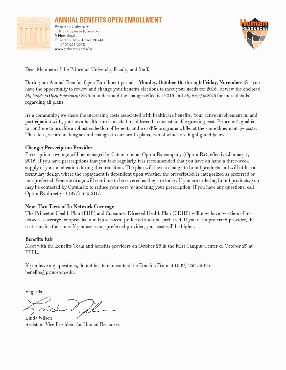 Open Enrollment Letters to Employees Unique Open Enrollment Cover Letter for 2016 by Princeton