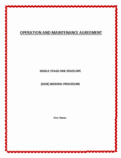 Operation and Maintenance Plan Template Awesome Operation and Management Agreement Template