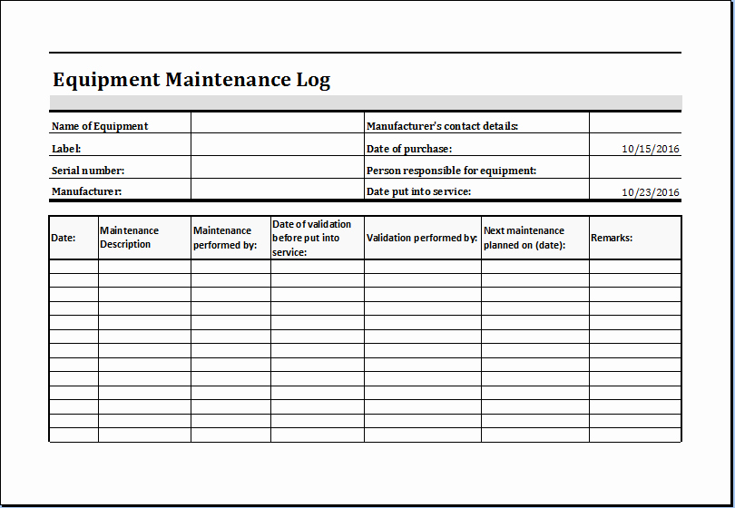 Operation and Maintenance Plan Template Inspirational Equipment Maintenance Log Template Ms Excel