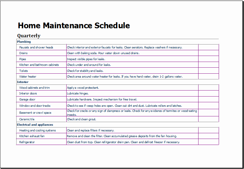 Operation and Maintenance Plan Template Luxury Home Maintenance Schedule Template for Excel