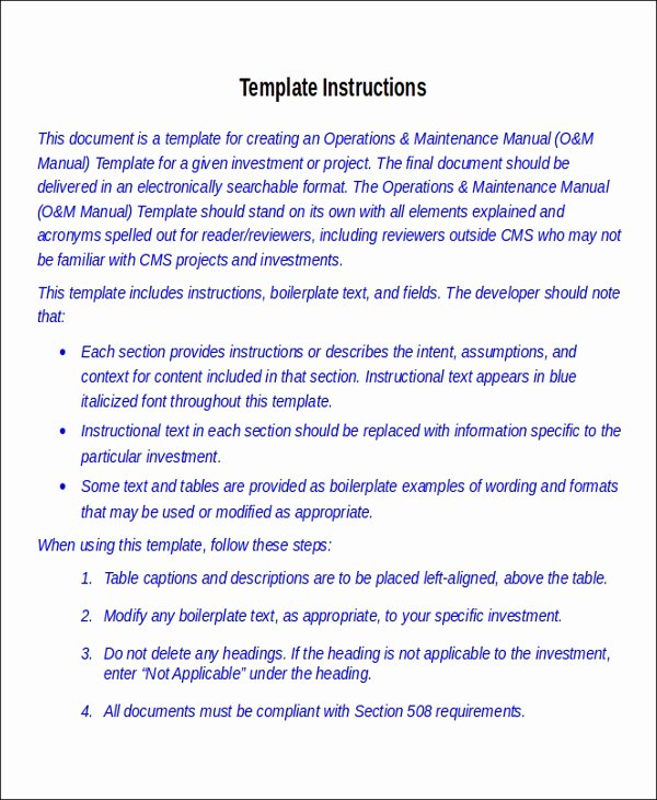Operation and Maintenance Plan Template New 8 Instruction Manual Templates Free Sample Example