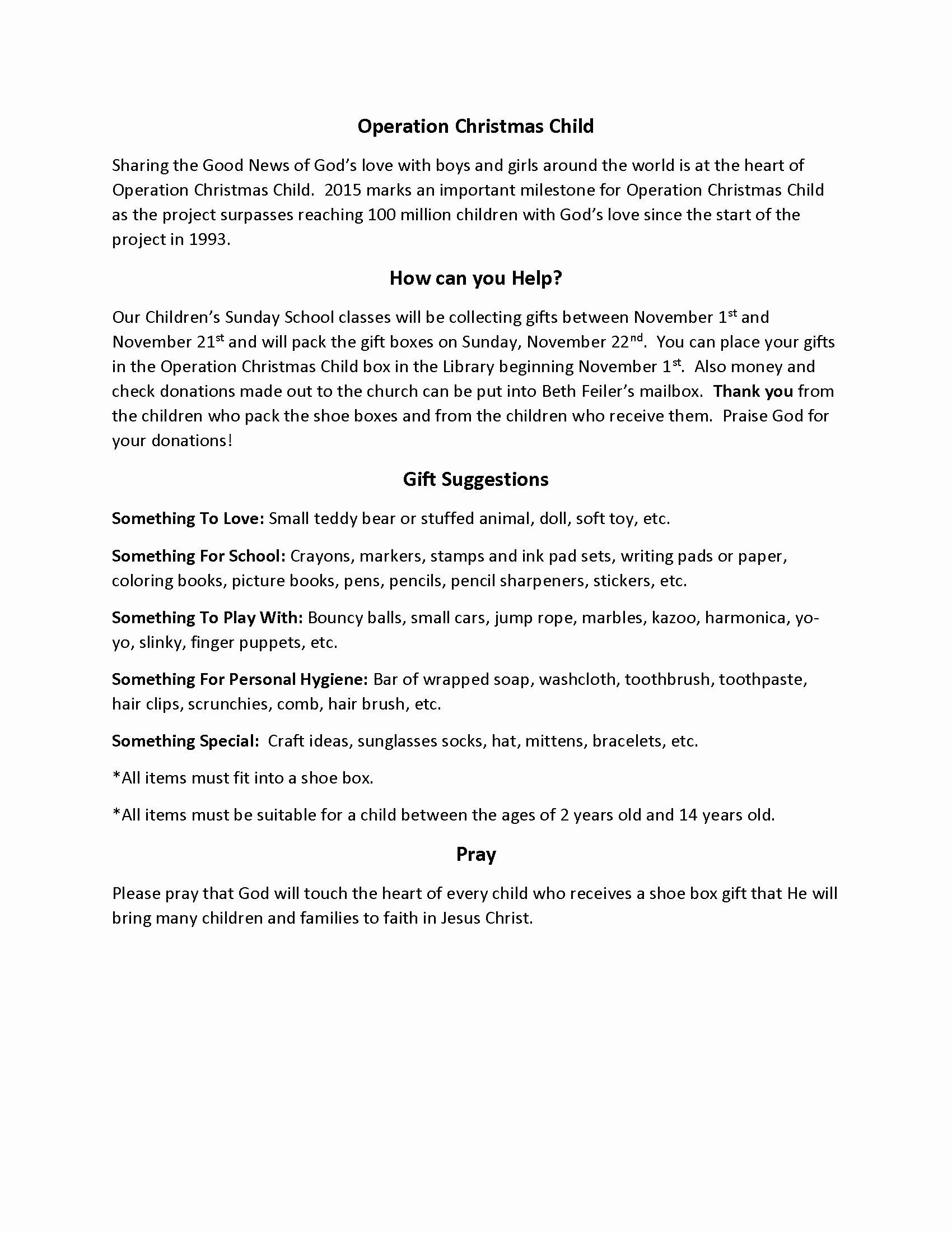Operation Christmas Child Letter Samples Best Of Operation Christmas Child 2015