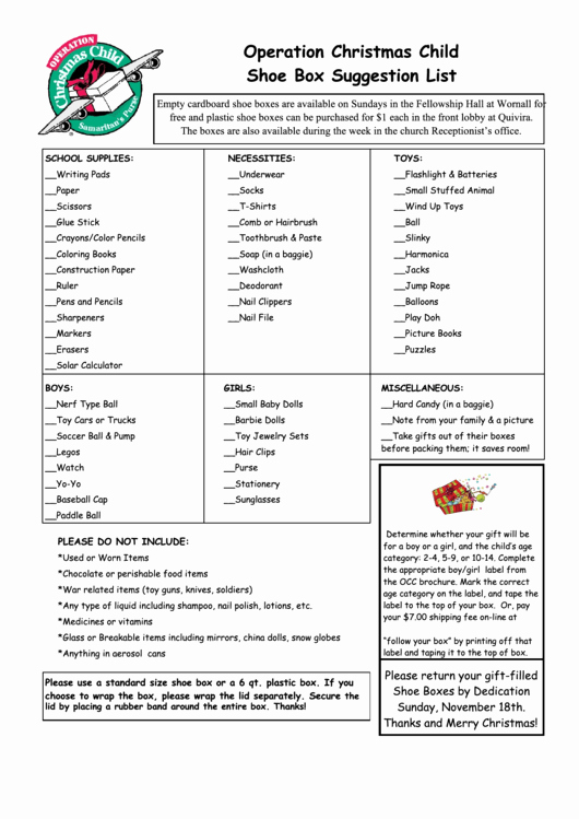 Operation Christmas Child Letter Template Fresh Operation Christmas Child Shoe Box Suggestion List