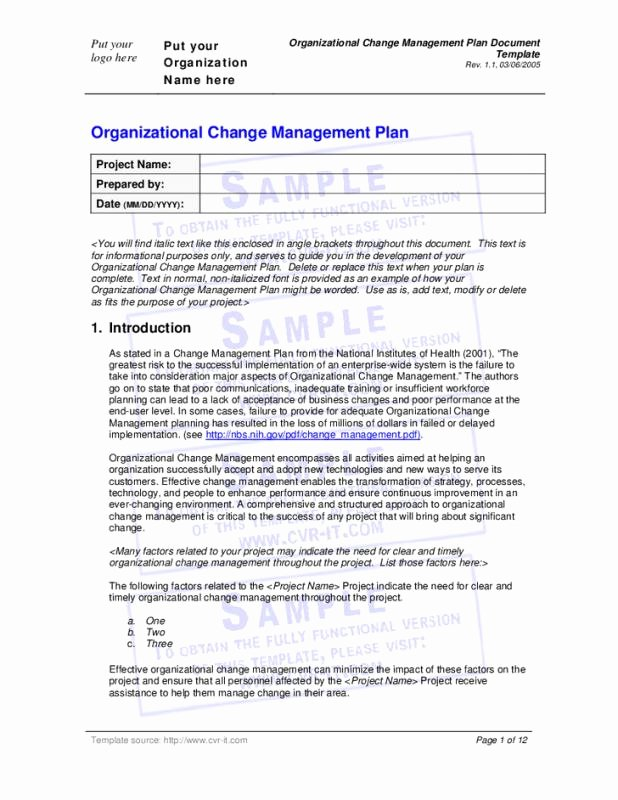 Organizational Change Management Plan Template Awesome Change Management Planning Template
