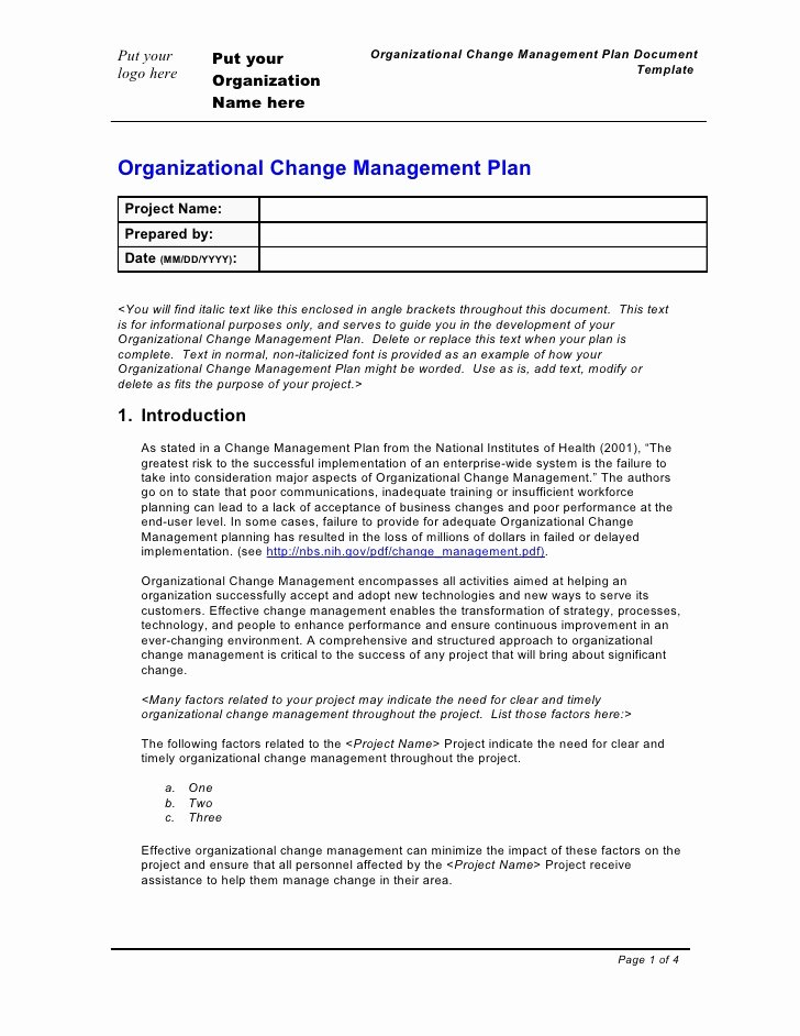 Organizational Change Management Plan Template Beautiful Doc Autofishki