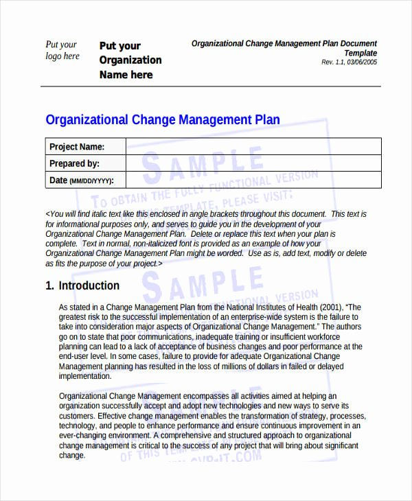 Organizational Change Management Plan Template Luxury 47 Management Plan Examples Pdf Word Pages