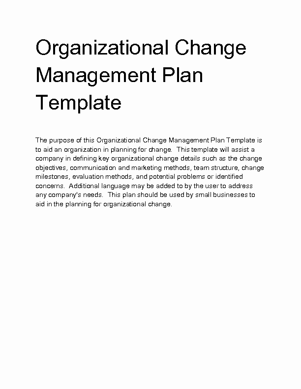 Organizational Change Management Plan Template New Wel E to Docs 4 Sale