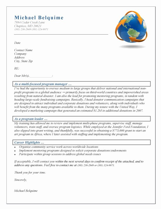 Organizational Development Cover Letter Beautiful Program Manager Cover Letter Example