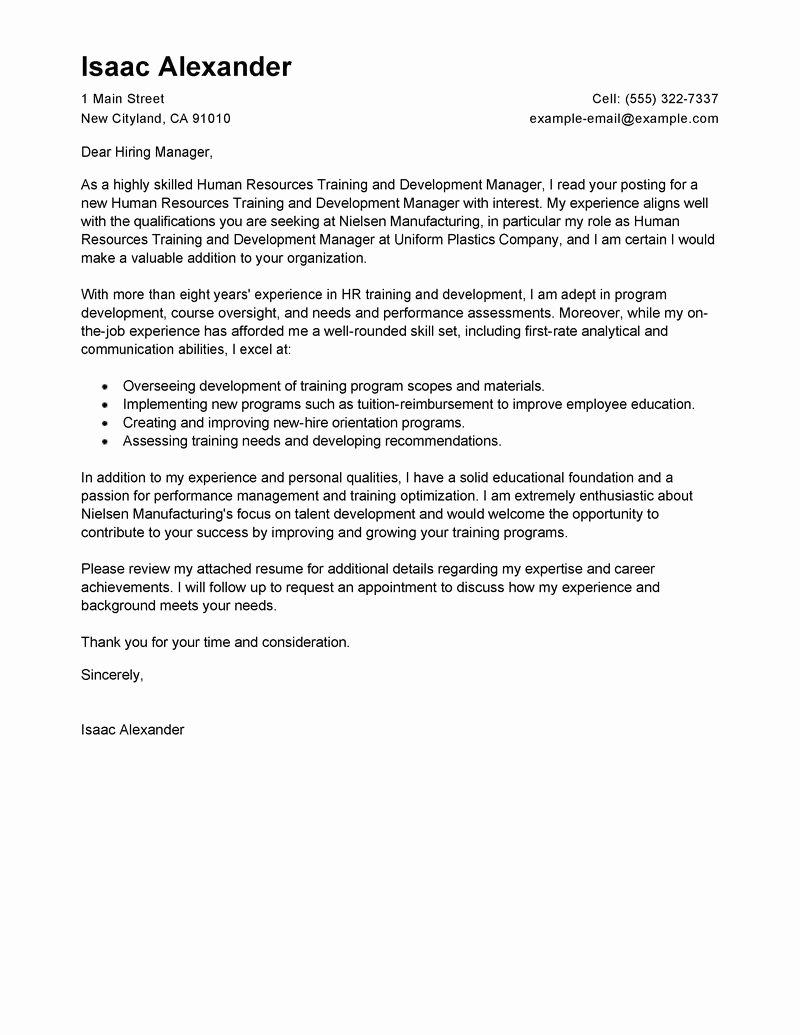 Organizational Development Cover Letter Best Of Training and Development Cover Letter Examples