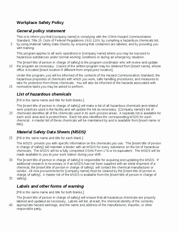 Osha Emergency Action Plan Template Best Of Osha Health and Safety Plan Template