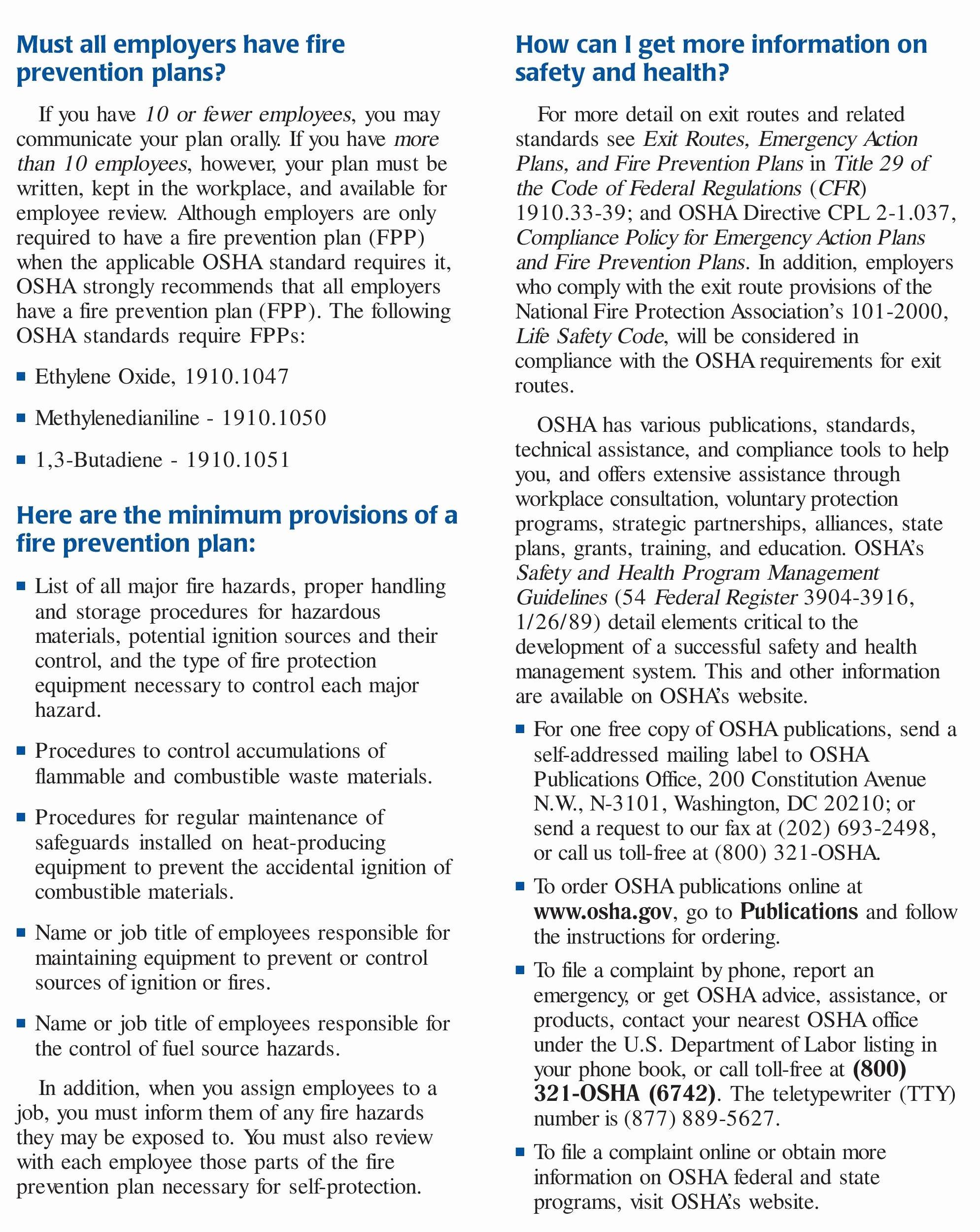 Osha Emergency Action Plan Template Elegant 28 Of Template Osha Fire Prevention Plan