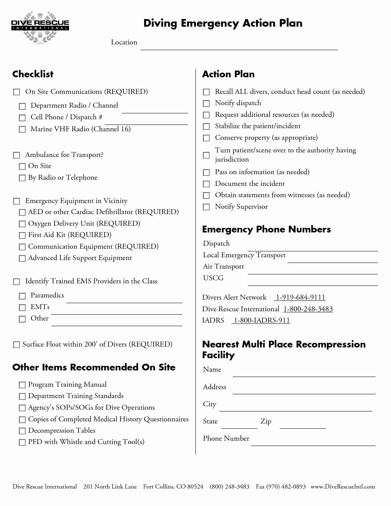 Osha Emergency Action Plan Template Inspirational Emergency Action Plan Template