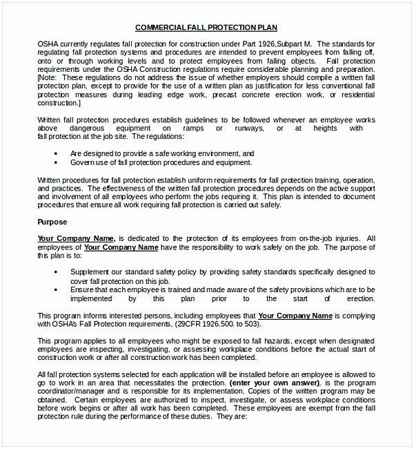 Osha Fall Protection Plan Template Awesome Nice Fall Protection Plan Template S Citation and