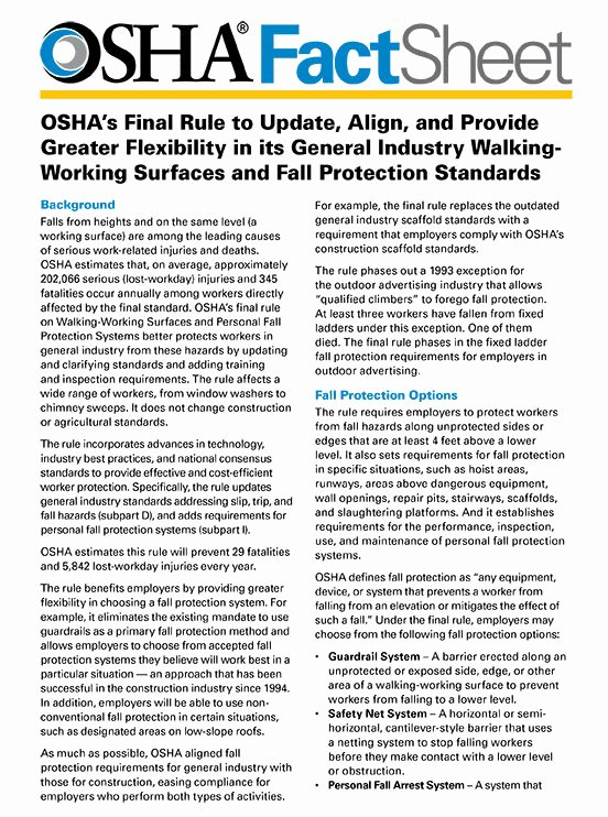 Osha Fall Protection Plan Template Awesome Osha Publications