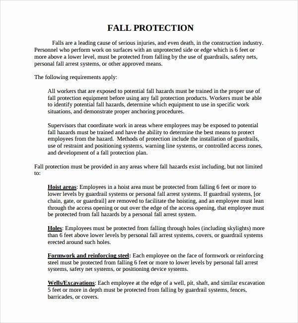 Osha Fall Protection Plan Template Elegant 10 Fall Protection Plan Templates