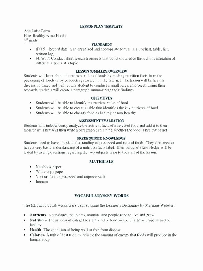 Otes Lesson Plan Template Unique Project Read Lesson Plan Template – Resume 43 Unique Otes