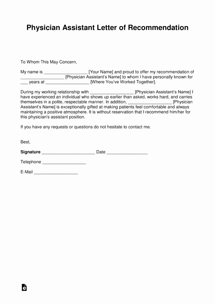Pa Letter Of Recommendation Inspirational Free Physician assistant Letter Of Re Mendation Template