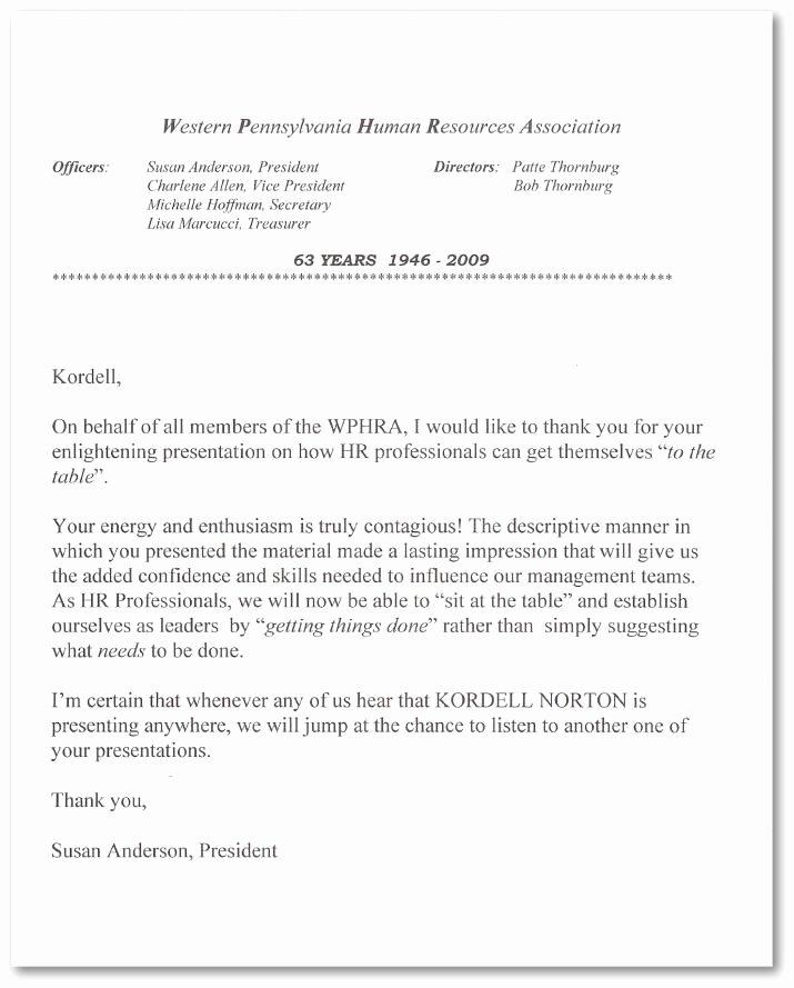 Kordell Norton Reference Letter WPHRA