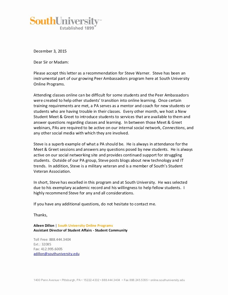 Pa Letter Of Recommendation Luxury Pa Re Mendation Letter S Warner
