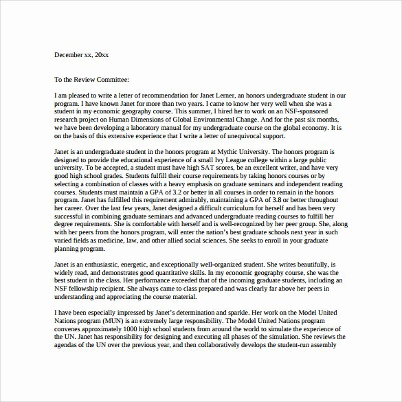 Pa School Letter Of Recommendation Awesome Sample Letter Re Mendation for Graduate School