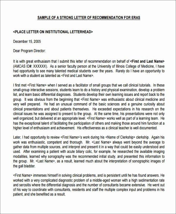 Pa School Letter Of Recommendation Unique 8 Sample Medical School Re Mendation Letters