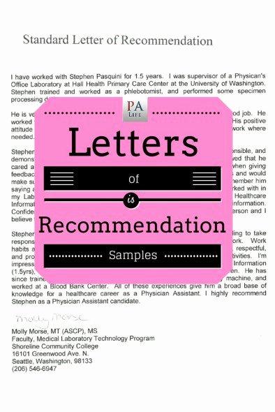 Pa School Letter Of Recommendation Unique Physician assistant School Application Re Mendation