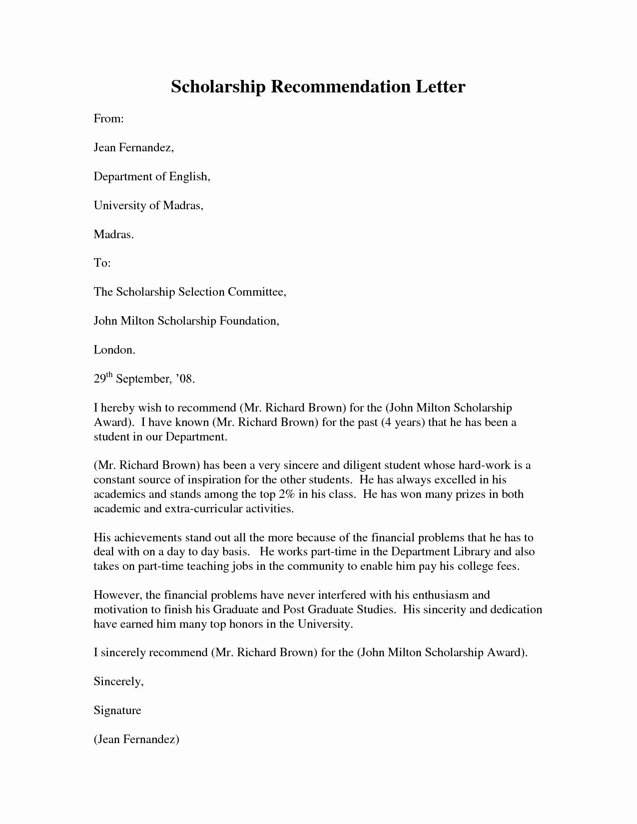 Pa School Letter Of Recommendation Unique Template for Writing A Letter Re Mendation for A