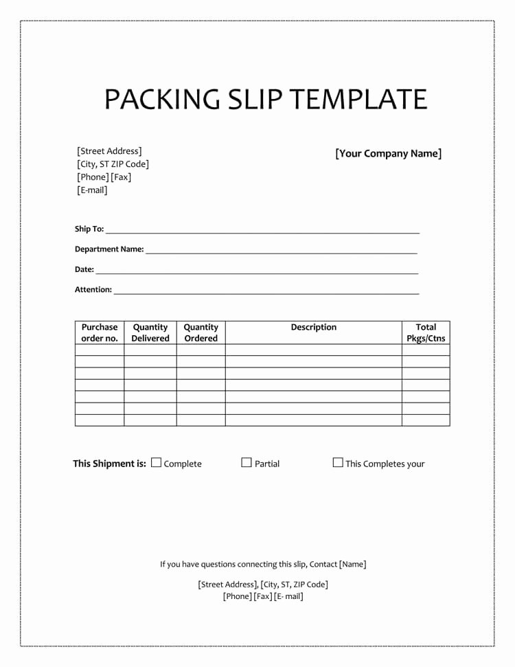 Packing Slip Template Word Fresh 25 Free Shipping & Packing Slip Templates for Word & Excel