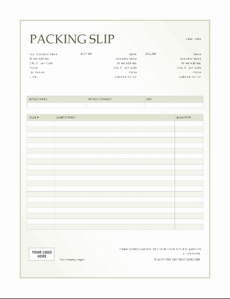 Packing Slip Template Word Inspirational Lists Fice