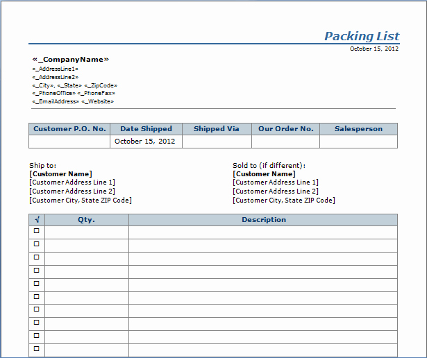 Packing Slip Template Word New Packing List Template Word Doc