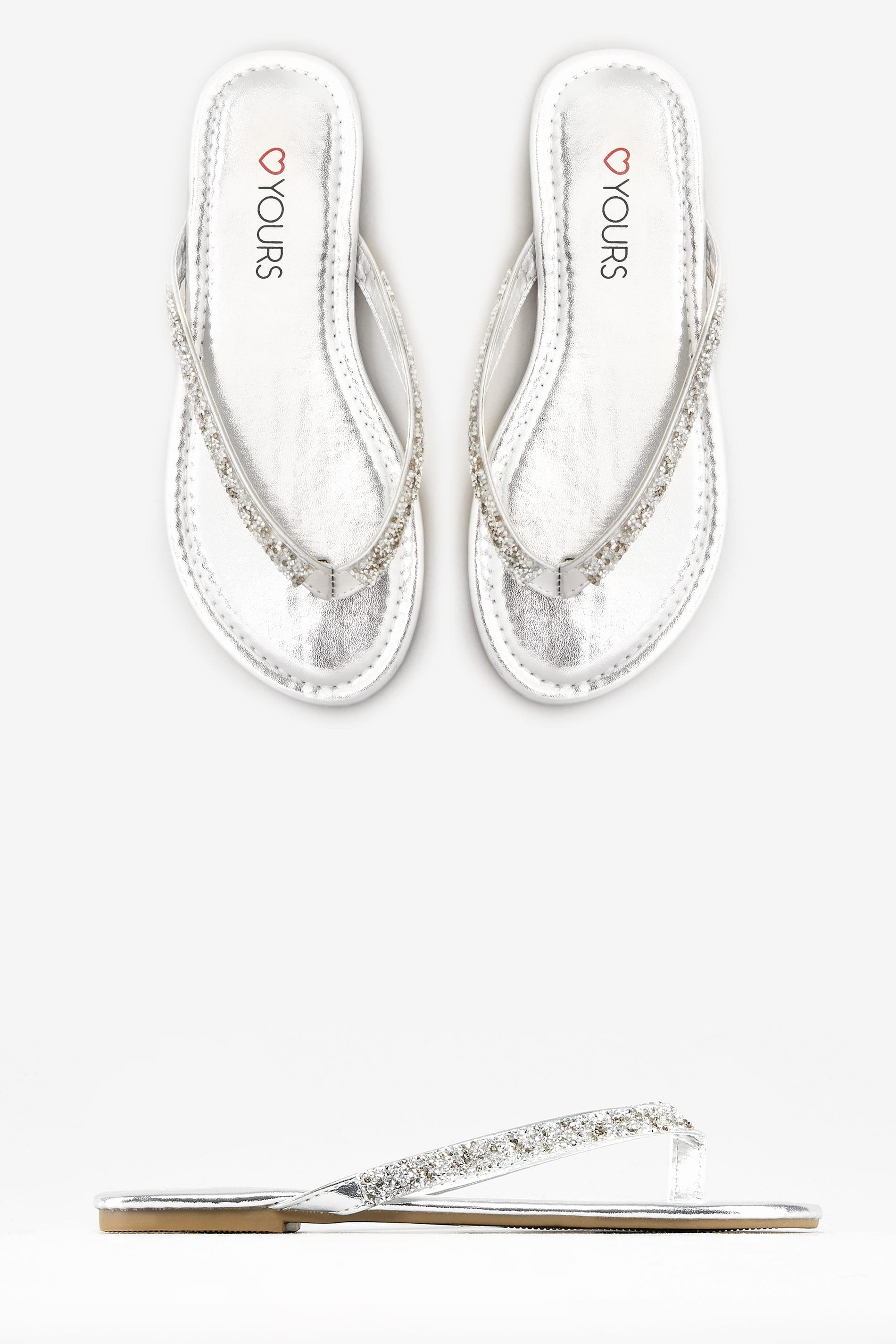 Paid In Full Free Online Lovely Silver Sandals with Glitter Straps In Eee Fit