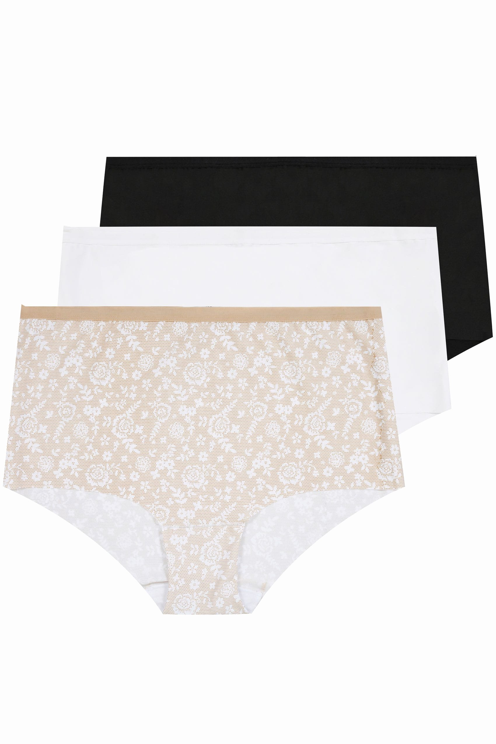 Paid In Full Free Online Luxury 3 Pack Black White & Nude Lace Print No Vpl Full Briefs