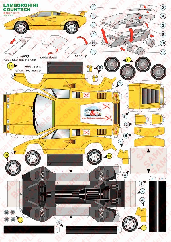 Paper Model Car Templates New 26 Of Yellow Lamborghini Papercraft Template