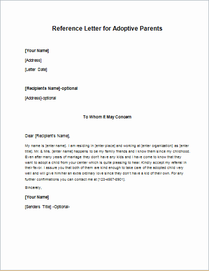 Parent Recommendation Letter for Child Inspirational Adoptive Parents Reference Letters