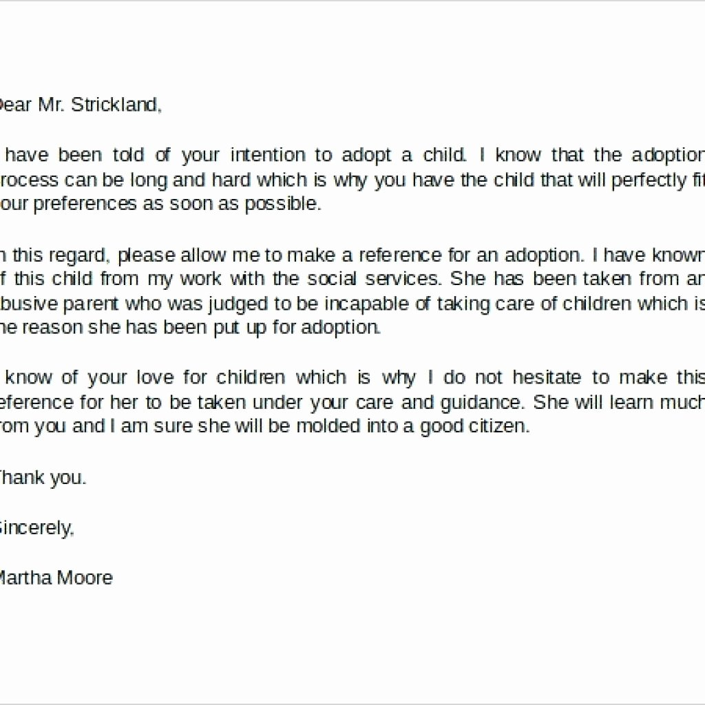 Parent Recommendation Letter for Child Unique Adoption Reference Letter Examples From Sample Personal