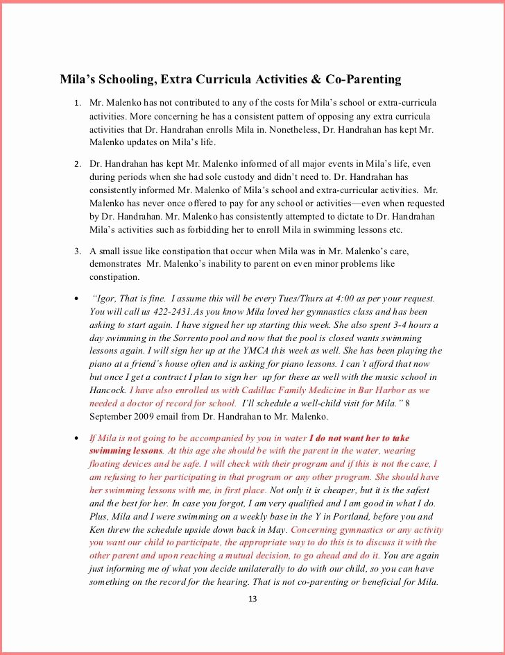 Parenting Plan California Template Awesome Free Parenting Plan Template 2