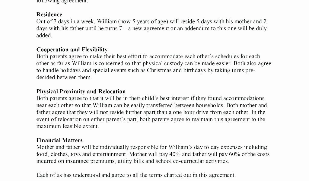 Parenting Plan California Template Awesome Full Custody Agreement Template Child Parenting Custody