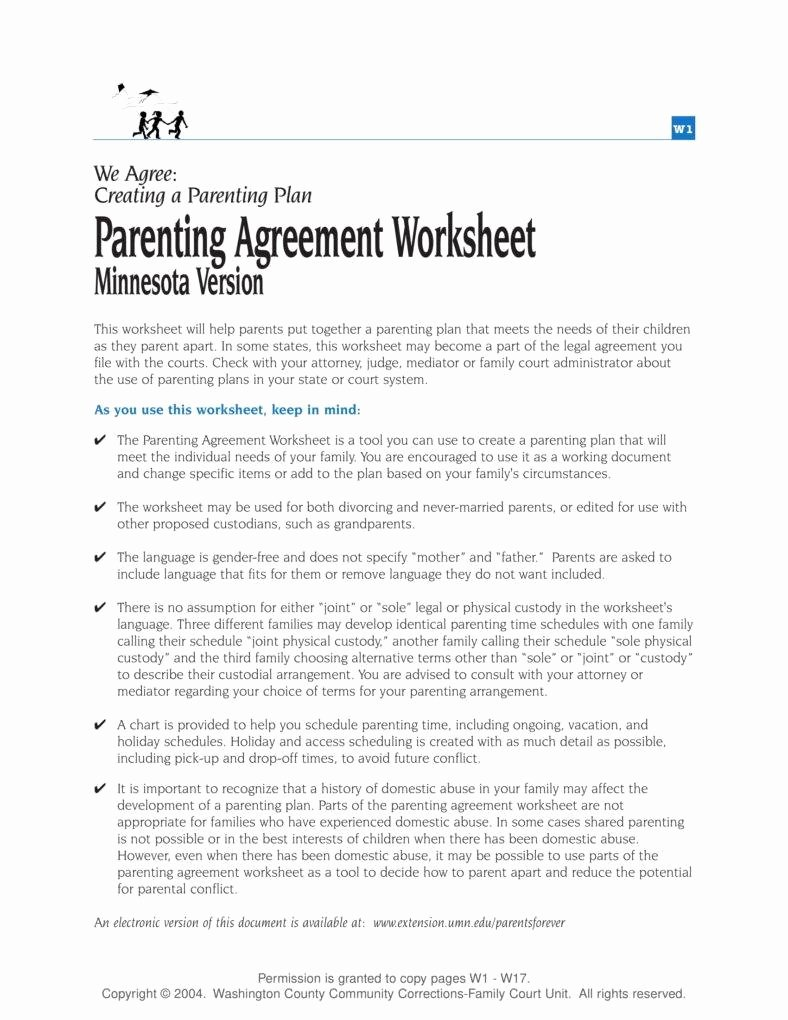 Parenting Plan California Template Awesome Parenting Plan Worksheet Kidz Activities