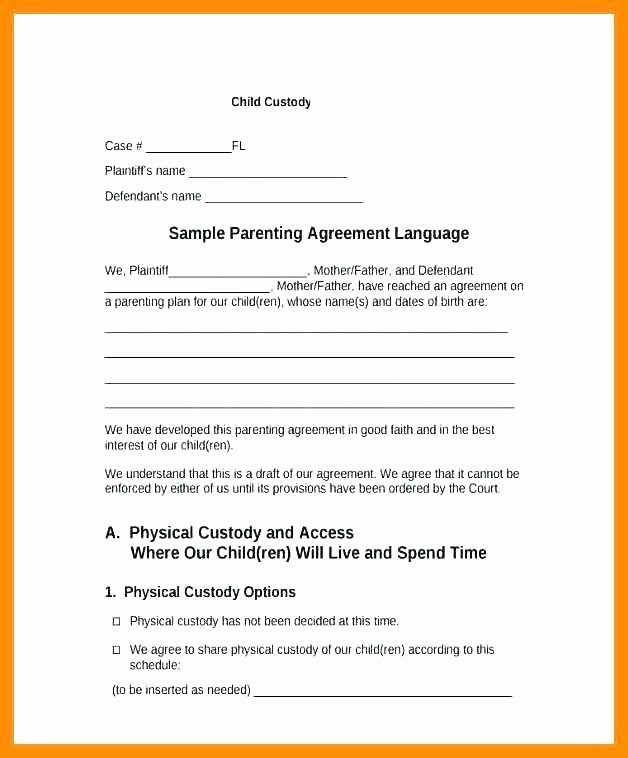 Parenting Plan California Template Awesome Parenting Schedule Template Custody Agreement Example