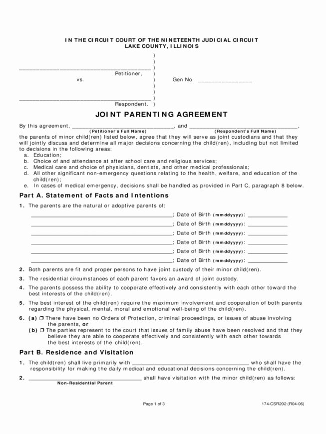 Parenting Plan California Template Best Of 50 50 Custody Agreement Template