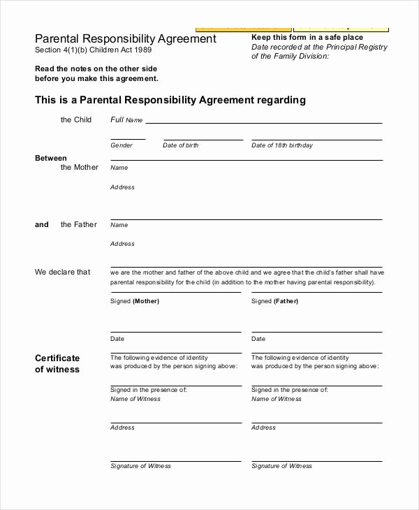 Parenting Plan California Template Lovely Parenting Agreement Templates 8 Free Pdf Documents
